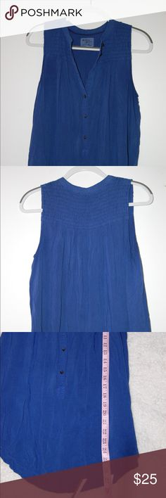Holding Horses Anthropologie Blue Smocked Tank Excellent Condition. Measurements included in photos. Anthropologie Tops Tank Tops