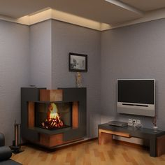 L shaped fireplace Home Fireplace, Fireplace Design, Pallet Wood, Wood Pallets, Modern Fireplaces, Foyers, Woodworking Projects, River, Living Room
