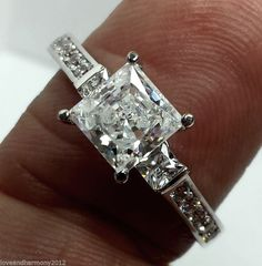 Real 14K solid White Gold 1.93 ct Princess cut Engagement Ring Three-Stone