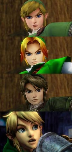 Different Links for Hyrule Warriors - I still prefer the original Twilight Princess version, but I like the way you get to choose your favourite version of Link.