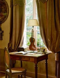 Violin lamp - Plus a lovely writing desk.