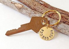 Custom TELEPHONE NUMBER Hand Stamped Metal Brass Key by miguez, $15.00