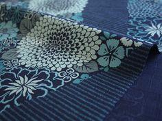 Stoff japanische Motive - Antiken Stil, Blumen, Streifen, Shippo - Navy - ein Designerstück von Alleco bei DaWanda