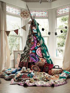 Home: Eleven Inspiring Bohemian Rooms  (Amazingly lovely teepee Via 79 Ideas)