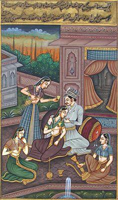 The Royal Harem - Miniature Paintings (Miniature Painting on Silk Cloth - Unframed) Mughal Miniature Paintings, Mughal Paintings, Indian Paintings, Peacock Painting, Love Painting, Silk Painting, Phad Painting, India Art, Art Corner