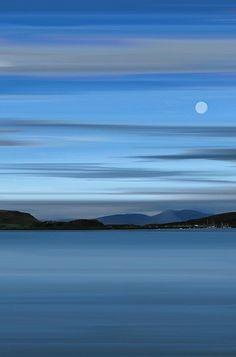 Moon over Oban Bay, Highlands of #Scotland