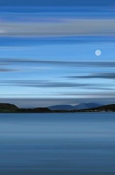 ✯ Moon over Oban Bay, Highlands of Scotland