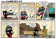 I know there's no way the helmet would fit a cat, but it's a cartoon so let's have some fun! Video Games Funny, Funny Games, Funny Webcomics, Gamer Cat, Cat Attack, Funny Comic Strips, Online Comics, Cat Comics, Play Pokemon