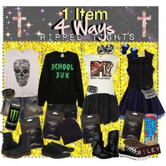 """""""✞ 1 Item 4 Ways:: Ripped Tights ✞"""" by tips-tips-tipss on Polyvore"""