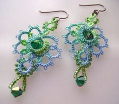 Lace earrings tatted with crystal and glass beads