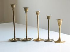 Vintage brass candlestick collection / Danish by oldstufflove