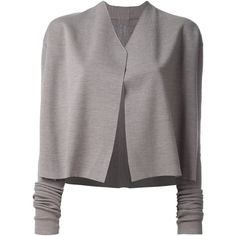 Rick Owens V-Neck Cardigan ($830) ❤ liked on Polyvore featuring tops, cardigans, grey, gray top, rick owens cardigan, grey cardigan, v-neck cardigan and v neck cardigan