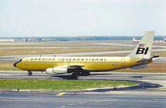 Braniff International B707 taxiing for takeoff from Renton Washington 1960