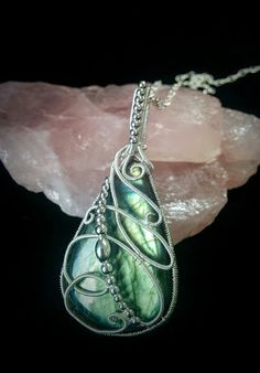 New Green labradorite silver wire wrapped teardrop by Stonessence