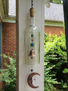 Moon Wine Bottle Wind Chime: