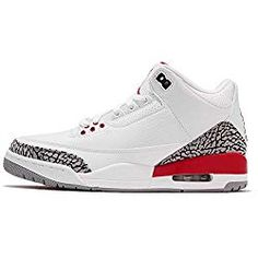 premium selection daa2a e38b8 Jordan Men s Air 3 Retro, White FIRE RED-Cement Grey, M US