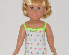 American Girl Doll Clothes Bathing Suit with Hearts and Bright Green Trim