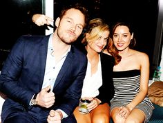 Chris Pratt, Amy Poehler and Aubrey Plaza at the 'Guardians of the Galaxy' Screening After Party