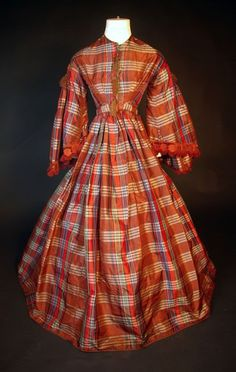 Late 1850s-early 1860s plaid silk dress. | In the Swan's Shadow