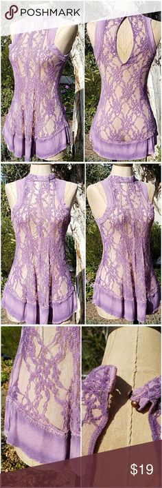 "Gimmicks by Buckle High Neck Lace Swing Camisole MEASUREMENTS:  🌺 Armpit - Armpit 16"" 🌺 Waist 28"" 🌺 Length 27""  CONDITION: No holes, No stains SIZE: XS  🌺 Shell 70% Cotton, 30% Nylon 🌺 Contrast 95% Rayon, 5% Spandex 🌺 Lining 96% Rayon, 4% Spandex  Lavender high neck sheer lace swing camisole Keyhole on back side with double button closure Tie-dyed thermal trimmed arm holes and hem  Pair with a bralette and vegan leather leggings  or skinny jeans Buckle Tops Camisoles"