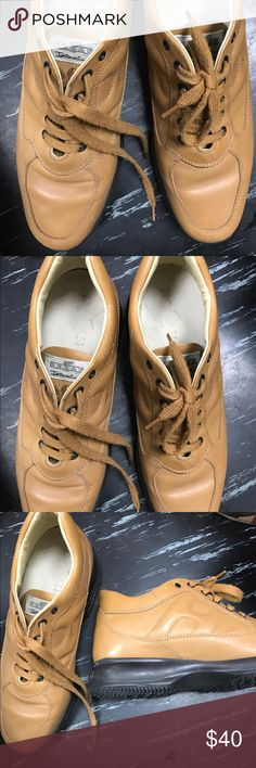 Hogan tan leather lace up sneakers Hogan camel leather lace sneakers Hogan Shoes Sneakers