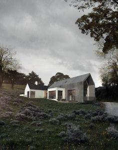 Kilmacsimon | Louise Sliney Architects Modern Irish new build house, rural barn form, zinc cladding, timber cladding and projecting bay #rural #architecture #barnhouse
