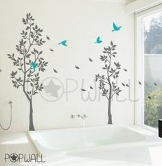 Wall decals wall stickers Trees with Falling Leaves by NouWall