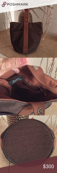 Hermes Saco MM handbag Authentic Hermes Saxo MM handbag brown black vintage.. good condition .. Hermes Bags