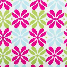 Pink, Lime & Blue Floral Medallion Apparel Fabric