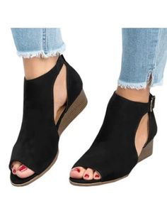 0a7d7ea28a8766 Womens Low Heel Wedge sandals Open Peep Toe Side Cut Out Ankle Buckle  Cushioned Strap Summer Suede Shoes