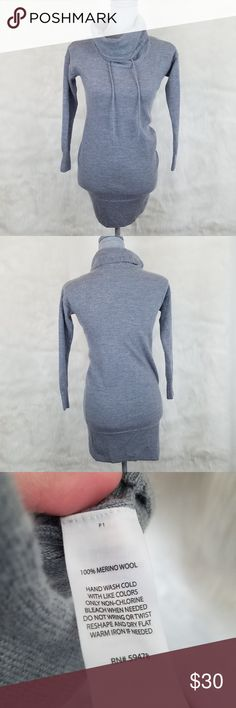 Cynthia Rowley Wool Dress Grey 100% extrafine merino wool turtleneck dress with adjustable ties on the turtleneck. Would be best with some tights or leggings underneath. Size XS,  but does fit petite. Measurements below.  ~Measurements laying flat~ Armpit to armpit- 16 inches Length- 27.5 inches Arm inseam- 16.5 inches Cynthia Rowley Dresses Mini