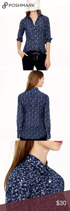 "Birds in Flight Navy ""Boy"" Style - J. Crew Feel the freedom of flight with this Silk Cotton mix bird printed button up. Luxurious against your skin in the ""boy"" fit and is perfectly light. See the last photo for an idea of opacity. Not see through but definitely breathable. Just what you need for your springtime summer wardrobe. 18"" pit to pit 4.5"" neck to shoulder 25.5"" long, shoulder to hip 15"" shoulder to shoulder (back)  ALL NEW BUTTONS. Securely sewn and ready to wear worry-free…"