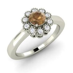 Round Brown Diamond Ring in 14k White Gold with SI Diamond