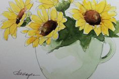 Sunflowers in Coffee Cup Original Watercolor Painting