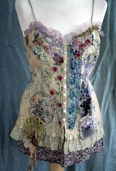 Dornröschen  -unique shabby chic bodice, wearable ar, textile collage with antique lace, sequins, beading, altered bodice, wearable art