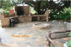Braai area Backyard House, Fire Pit Backyard, Outdoor Spaces, Outdoor Ideas, Outdoor Decor, Outdoor Fire, Diy Patio, Fire Pits, Outdoor Entertaining