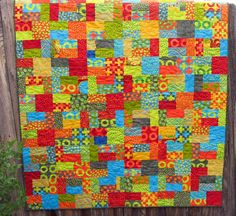 Bright Colors Handmade Throw or Sofa Quilt  $175