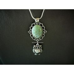 Green Floral Jade Stone Pendant Owl Charm Snake Necklace Jewelry... (€20) ❤ liked on Polyvore featuring jewelry, pendants, stone charms, owl jewellery, jade pendant, green jade pendant and stone pendant
