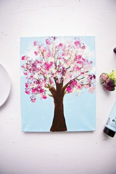 Paint With Broccoli: Fun Stamped Spring Tree - Welcome To Nana's Spring Art Projects, Spring Crafts For Kids, Craft Projects, Painting For Kids, Art For Kids, Craft Kids, Kid Art, Arts And Crafts Kits, Fun Activities For Toddlers