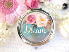 Silver Compact Mirror, Peonies,  cosmetic, handbag or purse mirror,  bridesmaid gift,birthday gift, Inspirational,  Dream. by RubysNeedfulGifts on Etsy