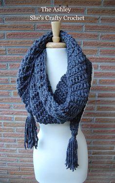Chunky scarf, Tunisian crochet, Lion Brand yarn, tassels, crochet.