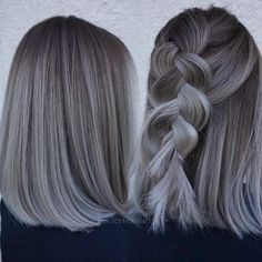 Relaxed braid on grey ombre