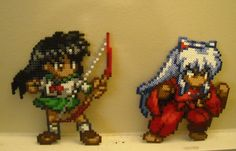 Kagome And Inuyasha Perler Bead Sprites by GamerGrrlz, via Flickr