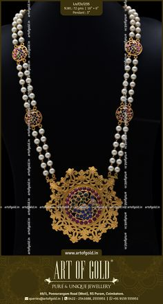 Gold Cut Work pendant with pearl mala Gems Jewelry, Pearl Jewelry, Beaded Jewelry, Gold Bangles Design, Gold Jewellery Design, Antique Jewellery Designs, Antique Jewelry, Pearl Necklace Designs, India