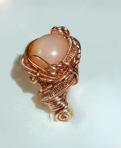 "Bronze Trial for ""Rolling In The Deep"" Ring. Peach Moonstone, Herkimer Diamond"
