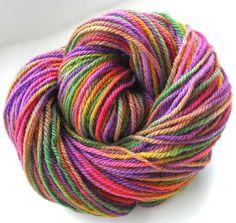 Hand Dyed Yarn Worsted  Wool Yarn - Flower Garden