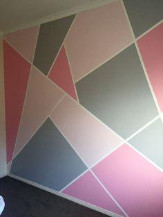 - #geometrischewanddeko Bedroom Wall Designs, Room Design Bedroom, Room Ideas Bedroom, Home Room Design, Room Wall Painting, Room Paint, Cute Room Decor, Room Wall Decor, Girl Bedroom Walls