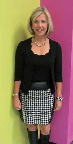 Skirt made from Mood Fabrics' houndstooth wool and repurposed leather; Vogue 8750. #moodfabrics