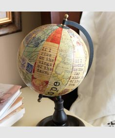 recycled world globe - love using this Scripture!