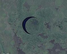 'The Eye' is an almost perfect circular islandland that is surrounded by a tiny channel of clear water and some believe it is camouflage for a massive alien base that lays quietly beneath the surface